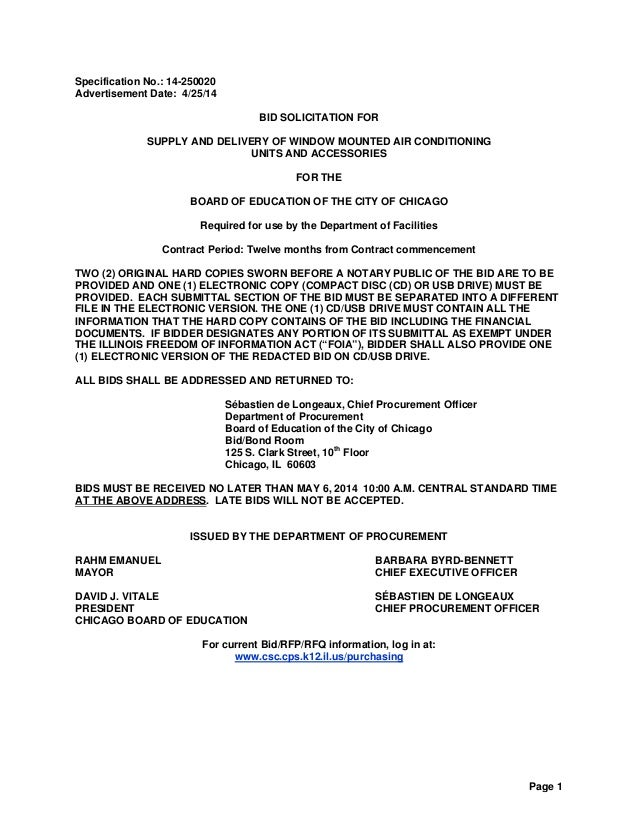 CPS RFP - 14 250020 bid for window mounted air conditioning