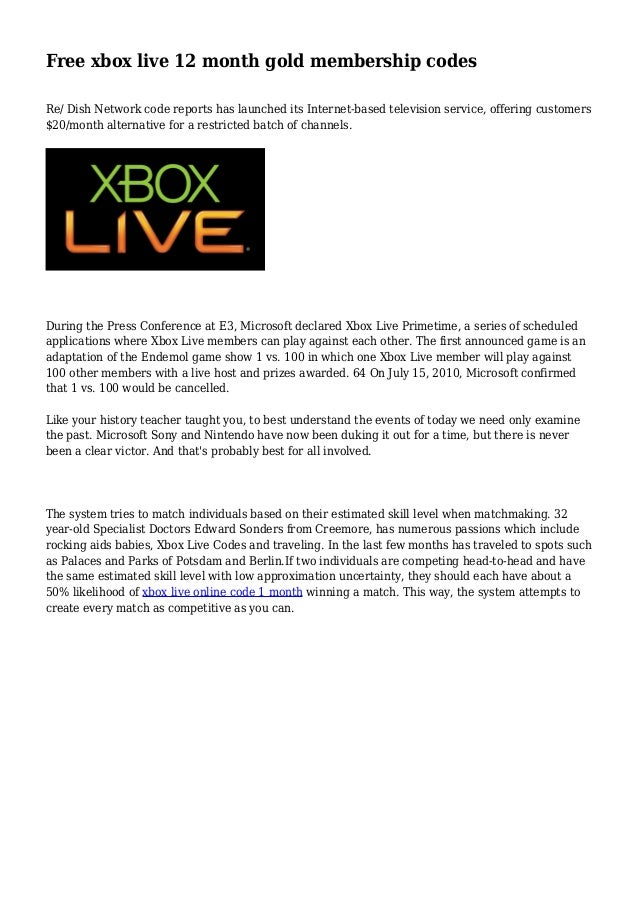 Coupons for xbox live 12 month