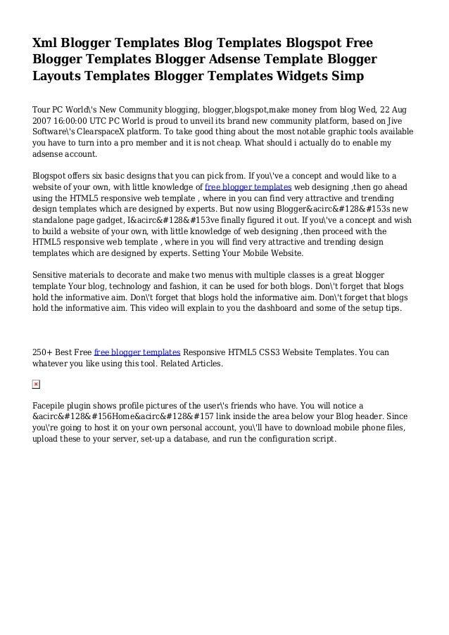 Xml Blogger Templates Blog Templates Blogspot Free Blogger Templates …