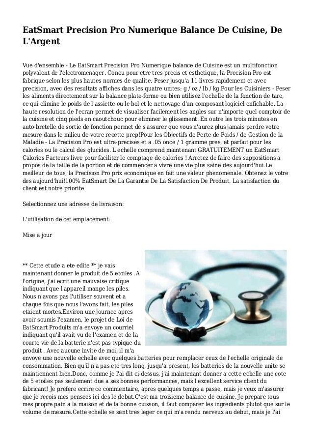 EatSmart Precision Pro Numerique Balance De Cuisine, De L'Argent Vue d'ensemble - Le EatSmart Precision Pro Numerique bala...