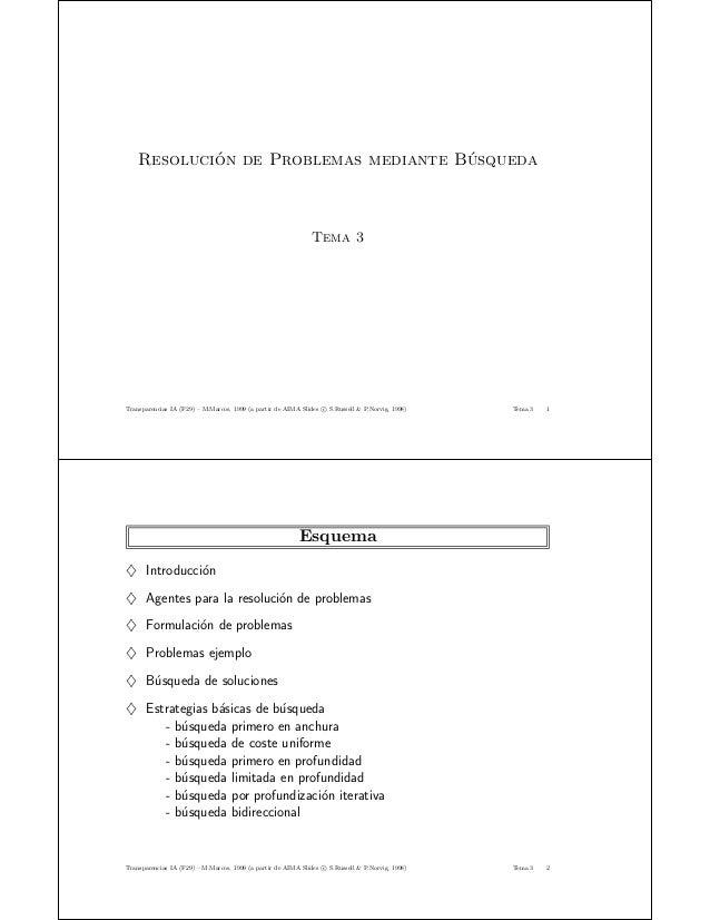 Resoluci´on de Problemas mediante B´usqueda Tema 3 Transparencias IA (F29) – M.Marcos, 1999 (a partir de AIMA Slides c S.R...