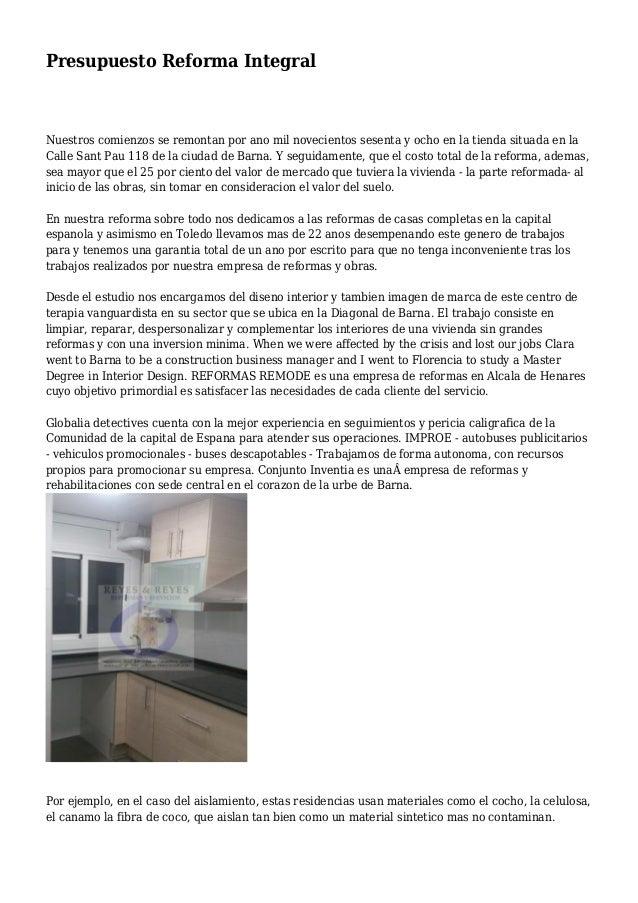 presupuesto reforma integral vivienda pdf presupuesto u