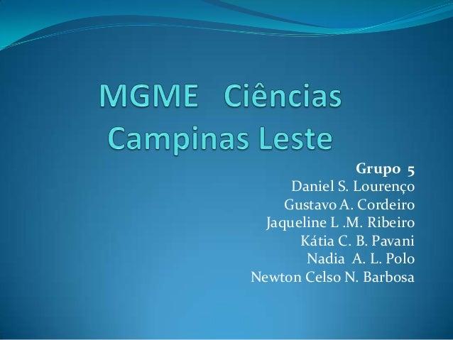 Grupo 5 Daniel S. Lourenço Gustavo A. Cordeiro Jaqueline L .M. Ribeiro Kátia C. B. Pavani Nadia A. L. Polo Newton Celso N....