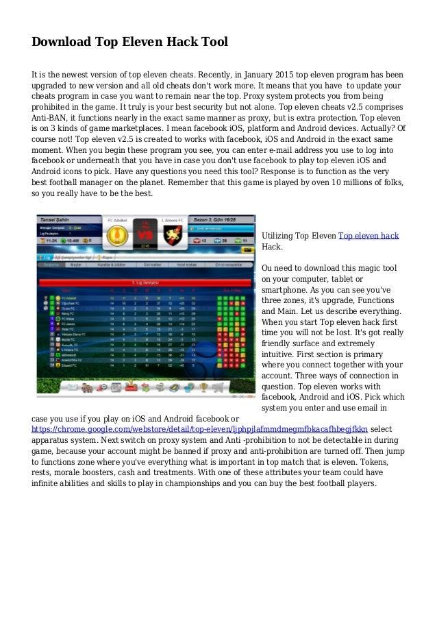 Download Top Eleven Hack Tool