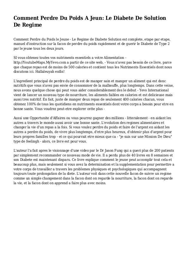 Comment Perdre Du Poids A Jeun: Le Diabete De Solution De Regime Comment Perdre du Poids le Jeune - Le Regime de Diabete S...