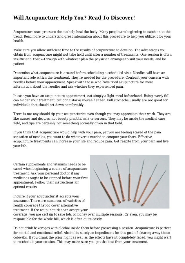 Will Acupuncture Help You? Read To Discover!