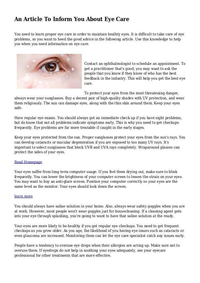 4d19acd1713 An Article To Inform You About Eye Care You need to learn proper eye care  in ...