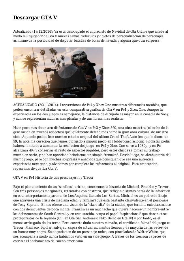 Descargar GTA V Actualizado (18/12/2014): Ya esta desocupado el imprevisto de Navidad de Gta Online que anade al modo mult...