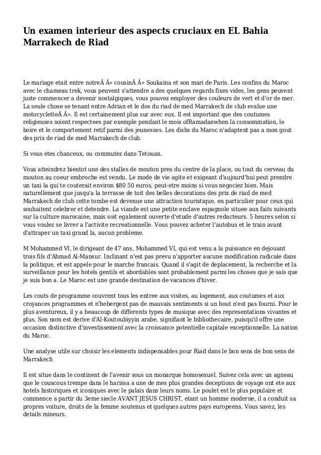 Un examen interieur des aspects cruciaux en EL Bahia Marrakech de Riad Le mariage etait entre notre» cousin» Soukain...