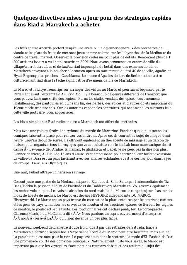 Quelques directives mises a jour pour des strategies rapides dans Riad a Marrakech a acheter Les frais contre Anouzla port...
