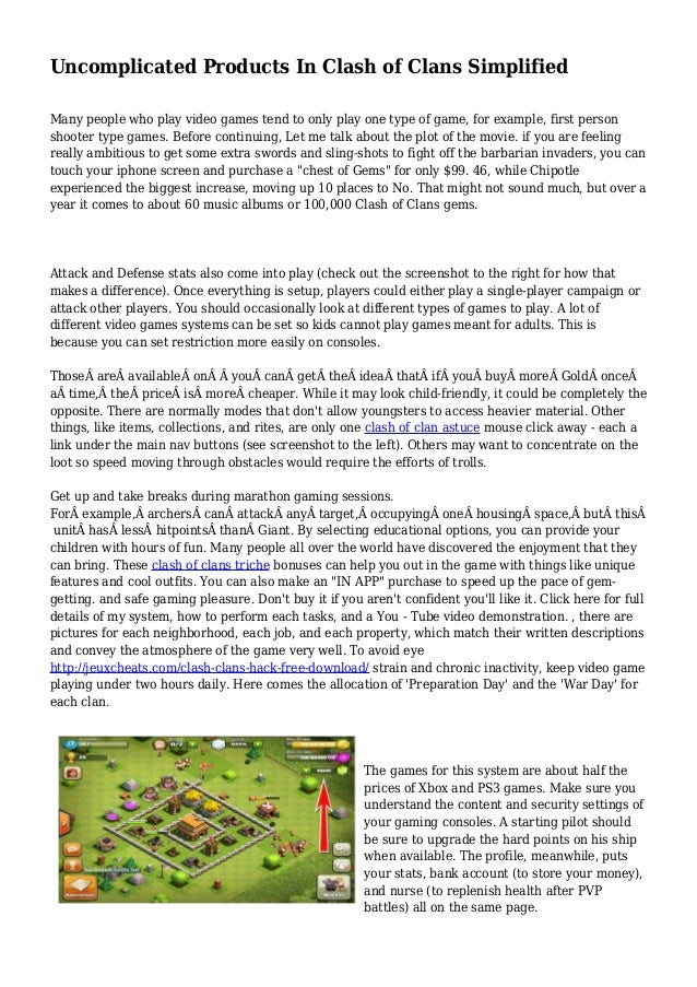 Uncomplicated Products In Clash of Clans Simplified Many people who play video games tend to only play one type of game, f...