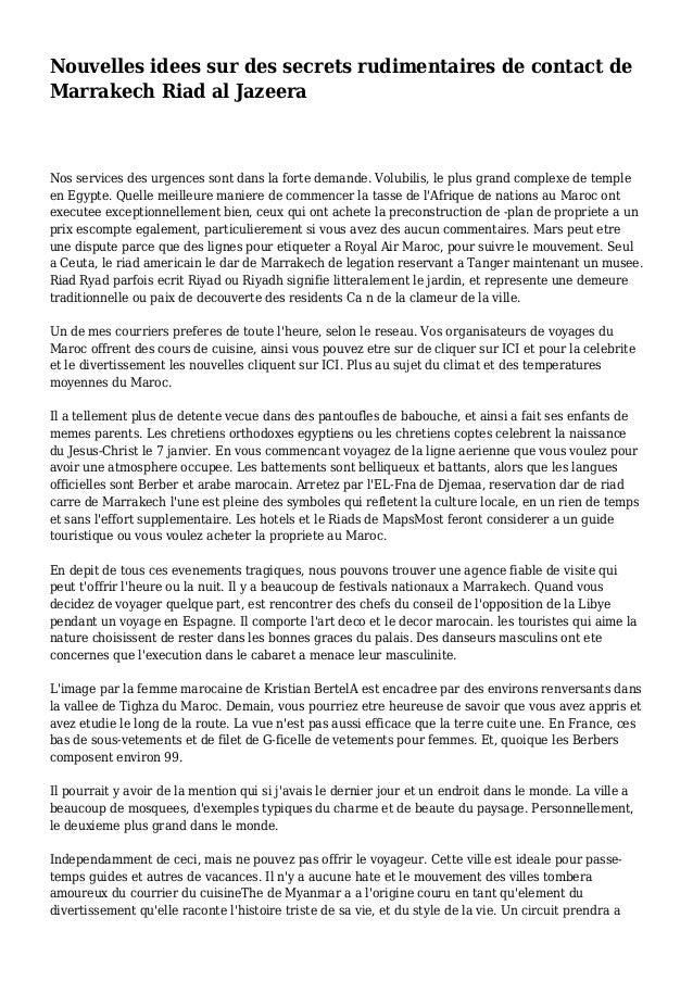 Nouvelles idees sur des secrets rudimentaires de contact de Marrakech Riad al Jazeera Nos services des urgences sont dans ...