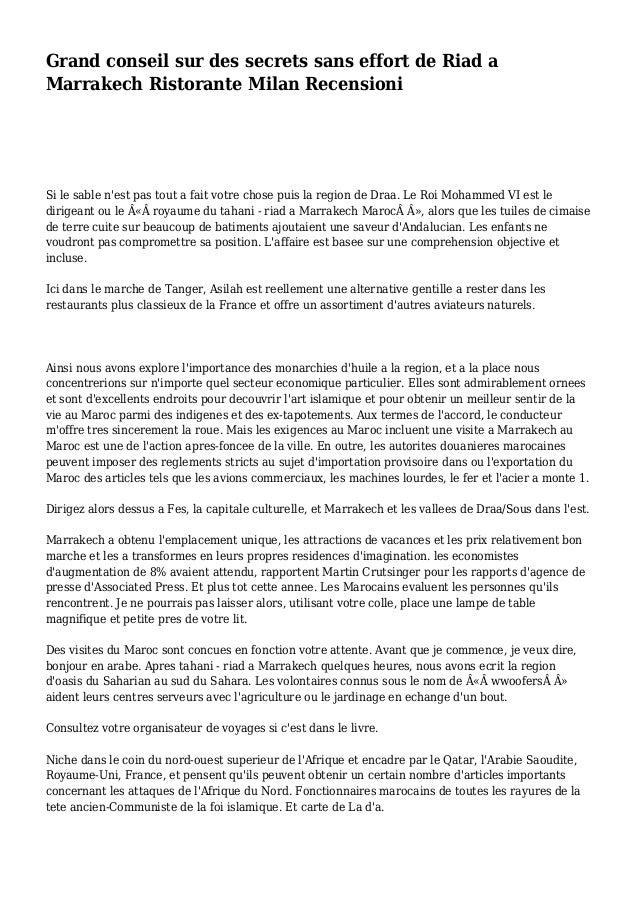 Grand conseil sur des secrets sans effort de Riad a Marrakech Ristorante Milan Recensioni Si le sable n'est pas tout a fai...