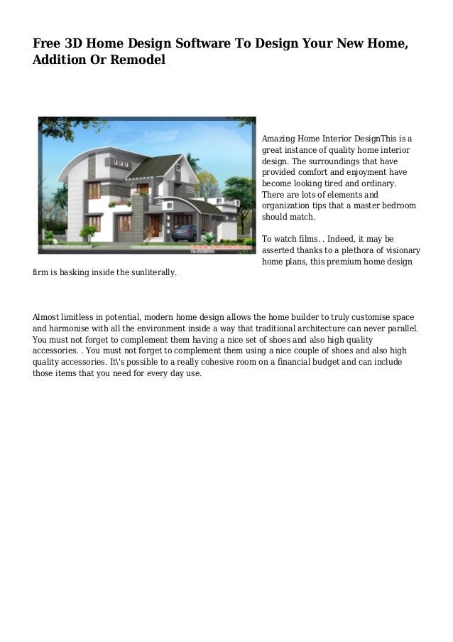Free 3d home design software to design your new home for How to design a addition to your house