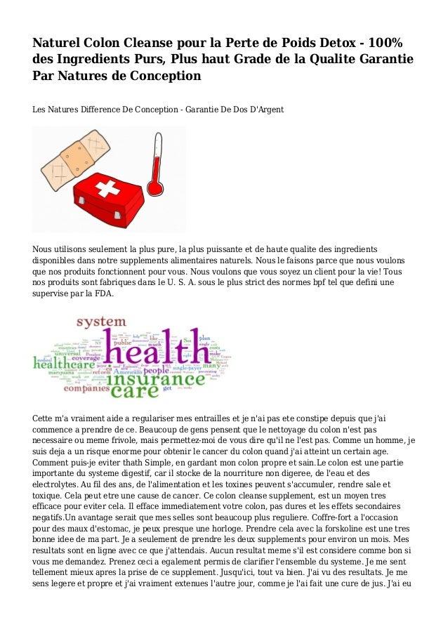 Naturel Colon Cleanse pour la Perte de Poids Detox - 100% des Ingredients Purs, Plus haut Grade de la Qualite Garantie Par...