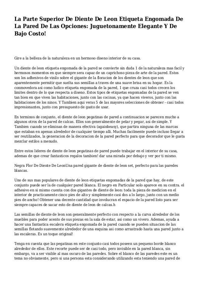 La Parte Superior De Diente De Leon Etiqueta Engomada De La Pared De Las Opciones: Juguetonamente Elegante Y De Bajo Costo...
