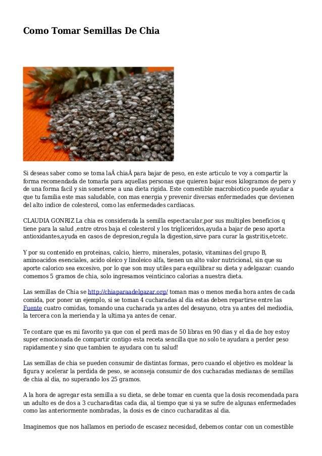 Como tomar semillas chia para adelgazar