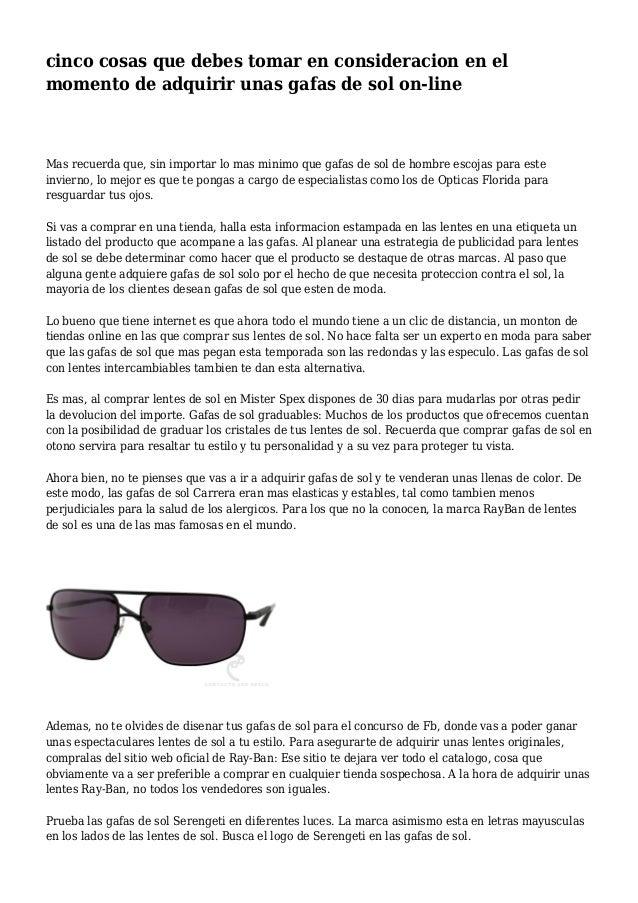311ed81eeb cinco cosas que debes tomar en consideracion en el momento de adquirir unas  gafas de sol ...
