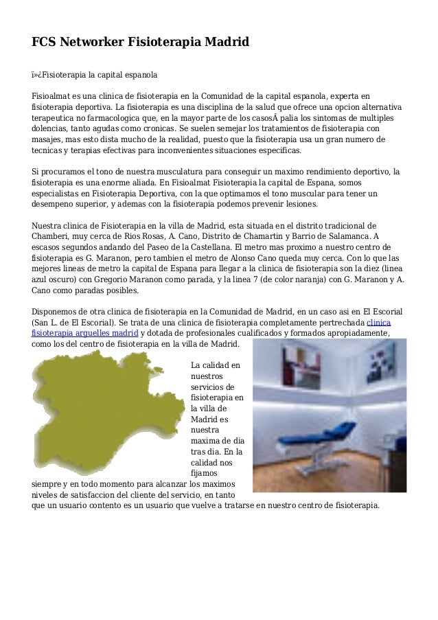 FCS Networker Fisioterapia Madrid Fisioterapia la capital espanola Fisioalmat es una clinica de fisioterapia en la Comu...
