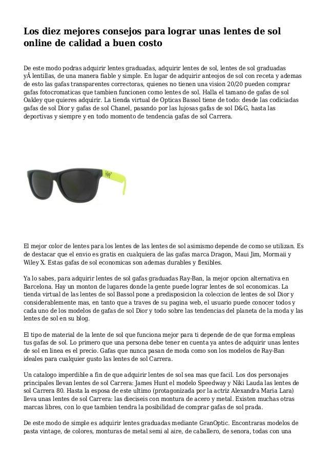 b92971657c Los diez mejores consejos para lograr unas lentes de sol online de calidad  a buen costo ...