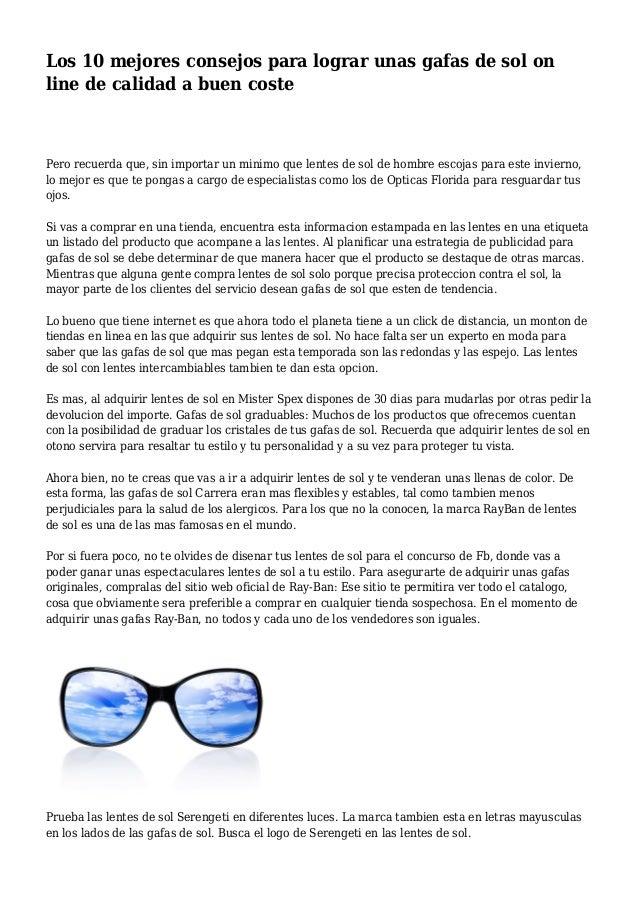 31fdcdf90a Los 10 mejores consejos para lograr unas gafas de sol on line de calidad a  buen ...
