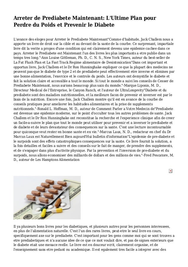 Arreter de Prediabete Maintenant: L'Ultime Plan pour Perdre du Poids et Prevenir le Diabete L'avance des eloges pour Arret...