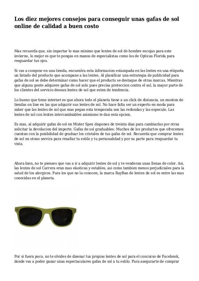 6d4ae90033 Los diez mejores consejos para conseguir unas gafas de sol online de  calidad a buen costo ...