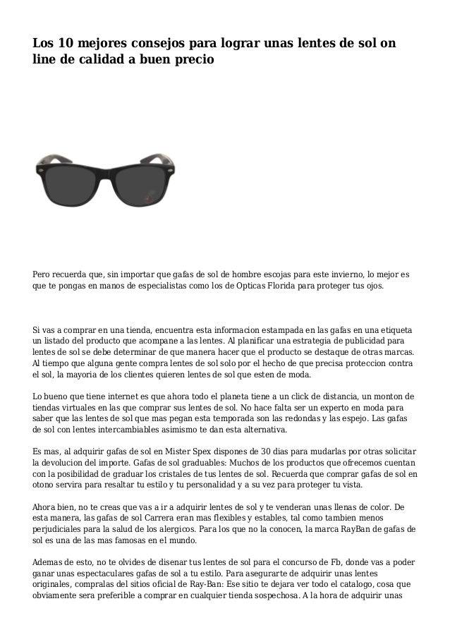 c211f773b2 Los 10 mejores consejos para lograr unas lentes de sol on line de calidad a  buen gafas ...