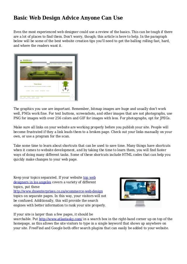 Basic Web Design Advice Anyone Can Use
