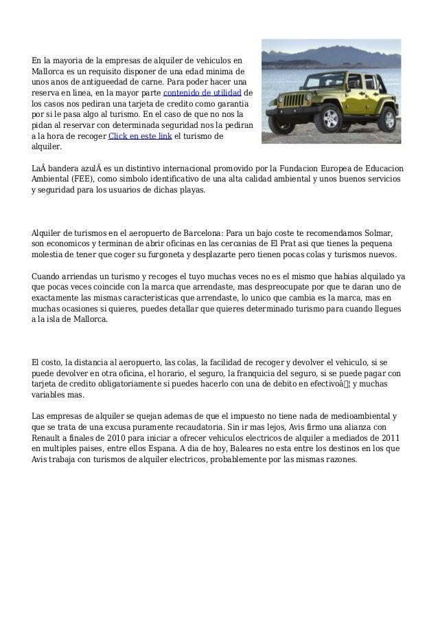 Alquiler de coches en mallorca aeropuerto desde 9 euros - Alquiler coche puerto palma de mallorca ...