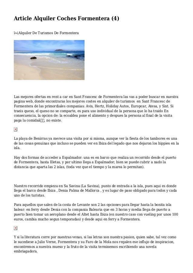 Article Alquiler Coches Formentera (4) Alquiler De Turismos De Formentera Las mejores ofertas en rent a car en Sant Fra...