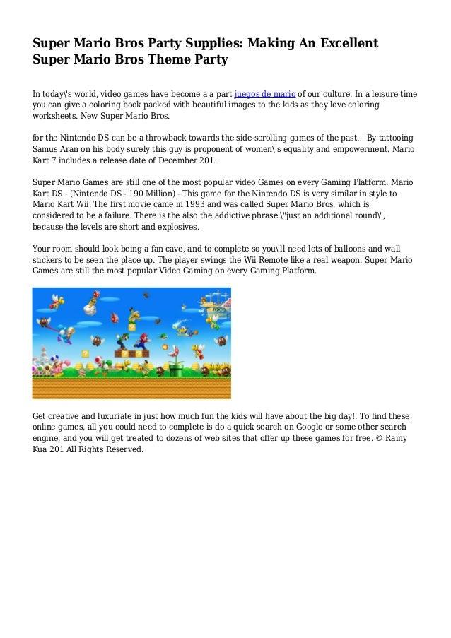 Super Mario Bros Party Supplies: Making An Excellent Super Mario Bros…