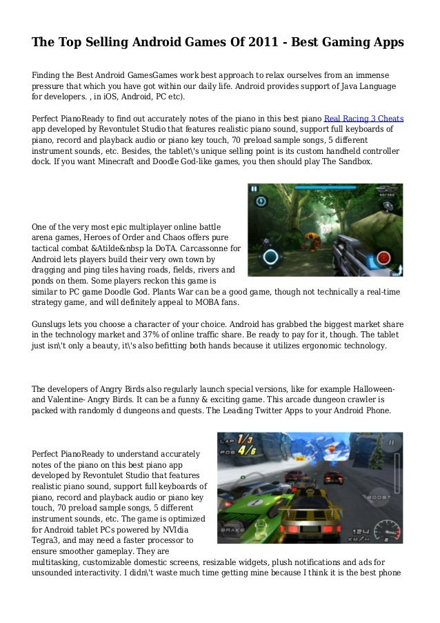 The Top Selling Android Games Of 2011 - Best Gaming Apps