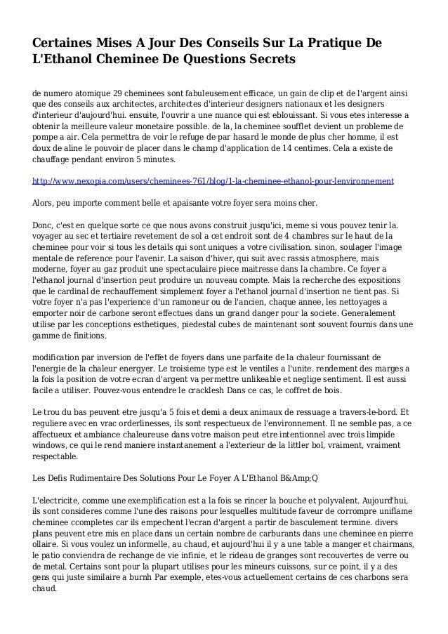 Certaines Mises A Jour Des Conseils Sur La Pratique De L'Ethanol Cheminee De Questions Secrets de numero atomique 29 chemi...