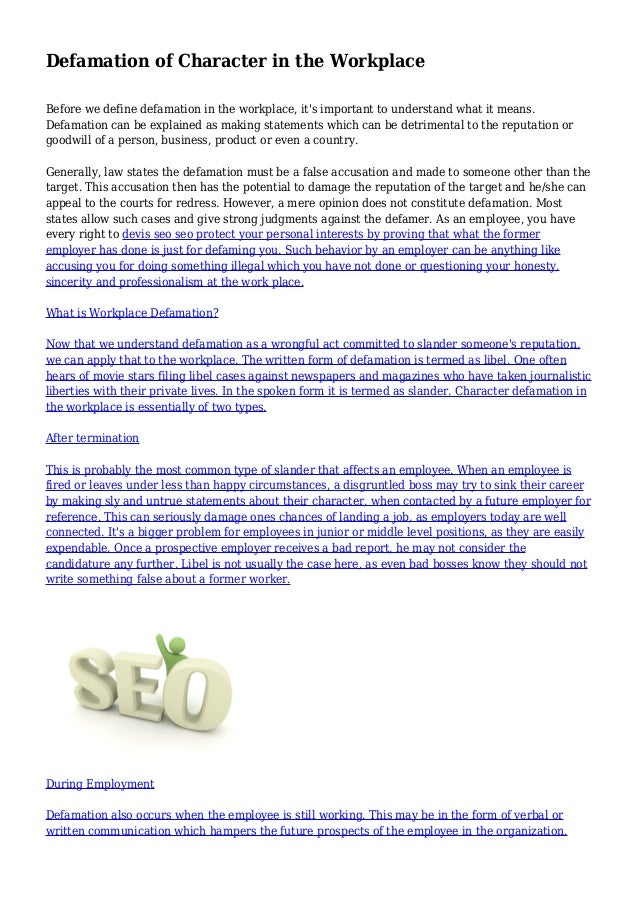defamation-of-character-in-the-workplace-1-638 Letter Of Recommendation Template For Defamation Character on personal injury letter template, slander letter template, good moral character letter template, harassment letter template, defamation on the internet,