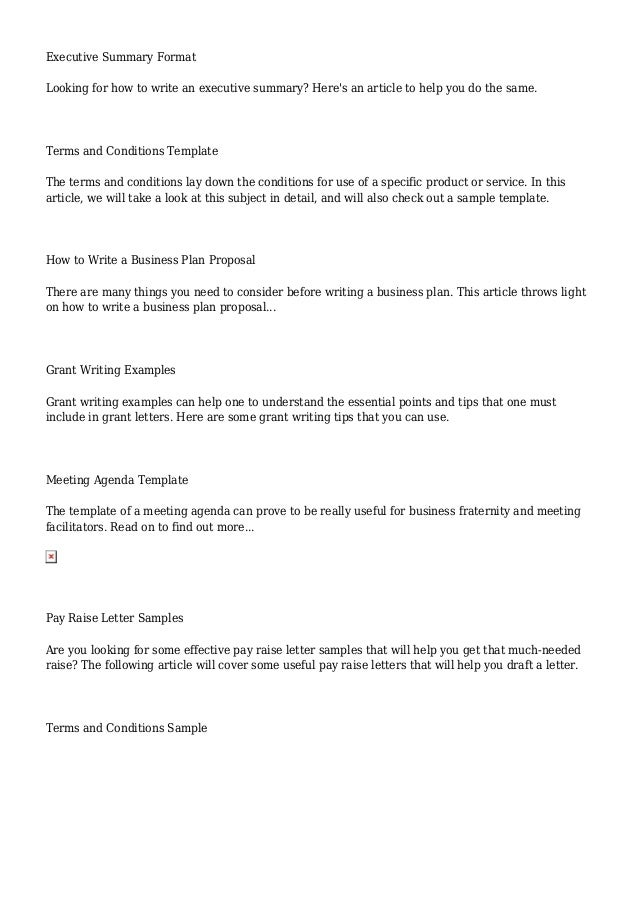 Business Writing – Article Summary Template