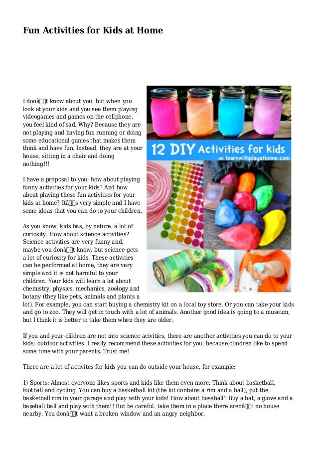 Fun Activities For Kids At Home I DonaEURTMt Know About You