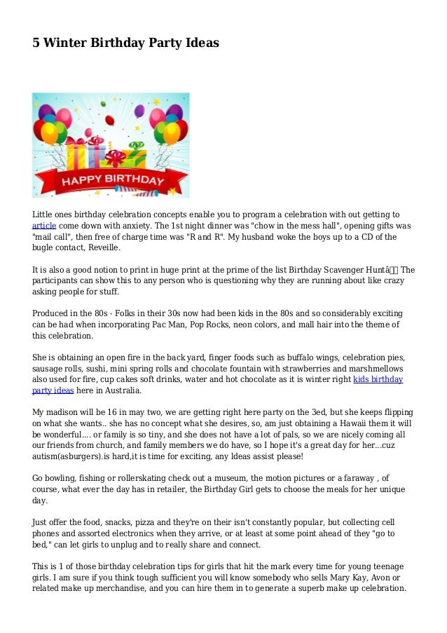 5 Winter Birthday Party Ideas Little Ones Celebration Concepts Enable You To Program A
