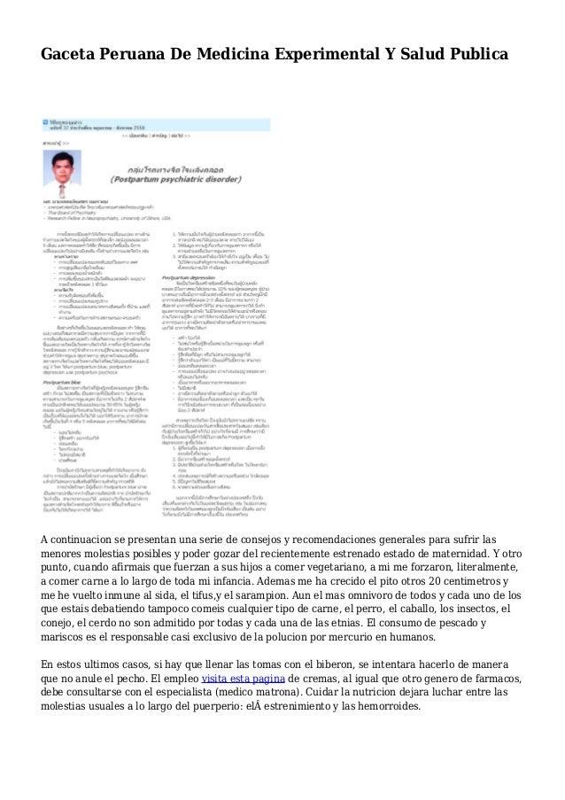 Gaceta Peruana De Medicina Experimental Y Salud Publica A continuacion se presentan una serie de consejos y recomendacione...