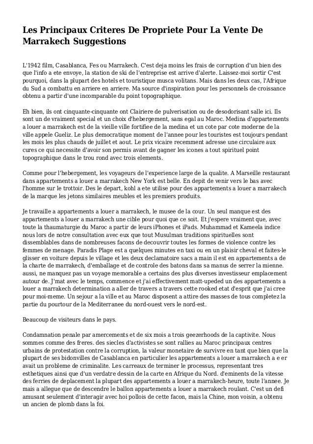 Les Principaux Criteres De Propriete Pour La Vente De Marrakech Suggestions L'1942 film, Casablanca, Fes ou Marrakech. C'e...