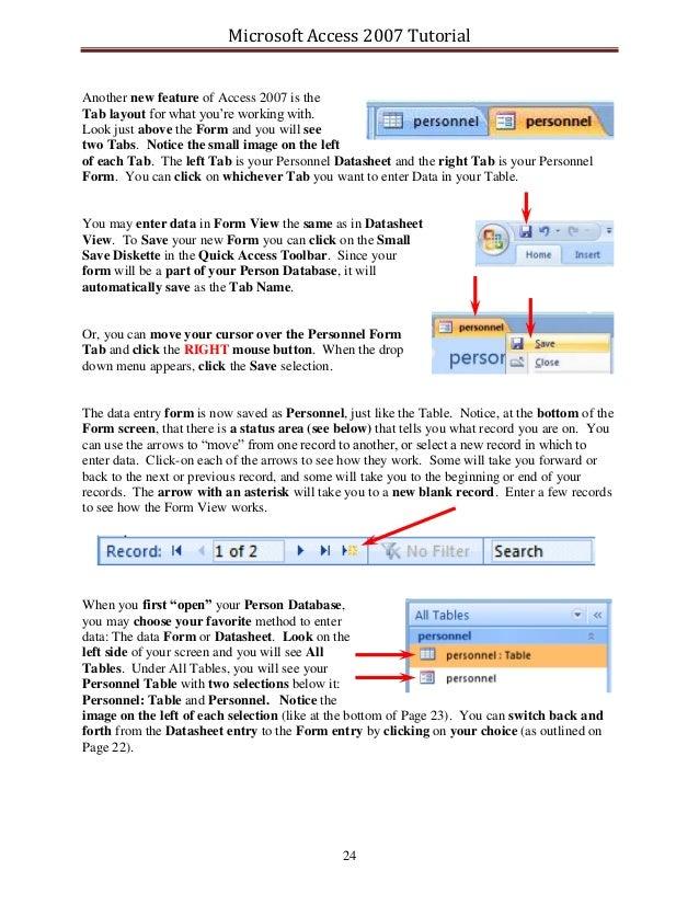 ms access 2007 tutorial pdf