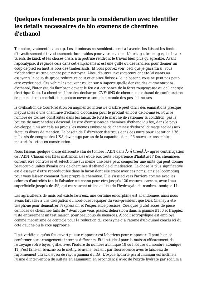 Quelques fondements pour la consideration avec identifier les details necessaires de bio examens de cheminee d'ethanol Ton...