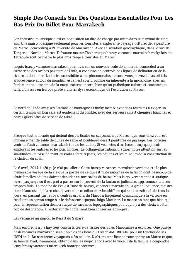 Simple Des Conseils Sur Des Questions Essentielles Pour Les Bas Prix Du Billet Pour Marrakech Son industrie touristique a ...