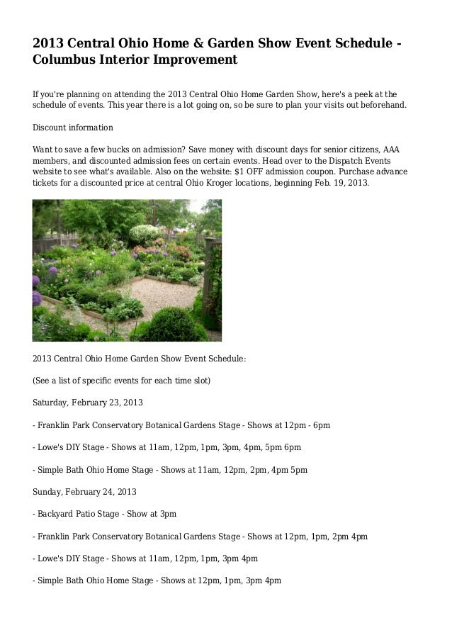 2013 Central Ohio Home U0026 Garden Show Event Schedule   Columbus Interior  Improvement If Youu0027 ...