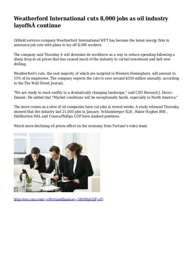 Weatherford International cuts 8,000 jobs as oil industry