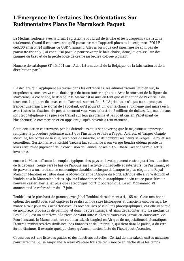 L'Emergence De Certaines Des Orientations Sur Rudimentaires Plans De Marrakech Paquet La Medina fredonne avec le bruit, l'...
