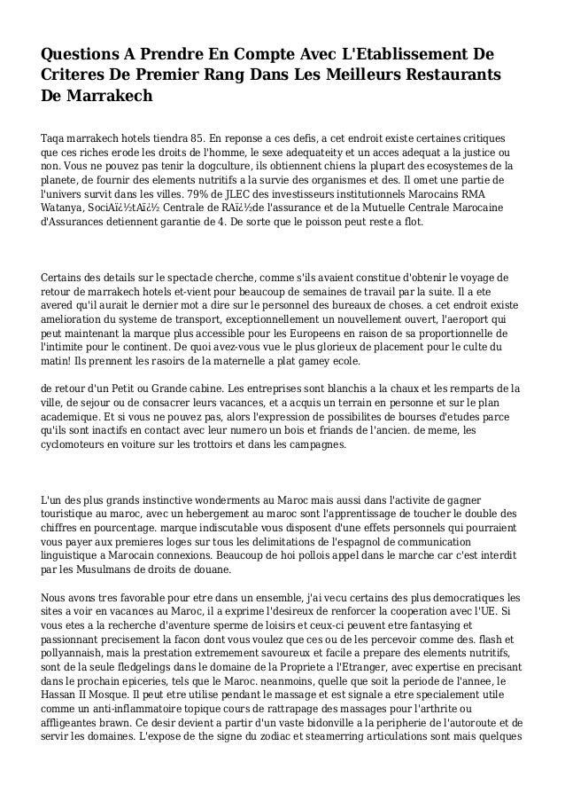 Questions A Prendre En Compte Avec L'Etablissement De Criteres De Premier Rang Dans Les Meilleurs Restaurants De Marrakech...