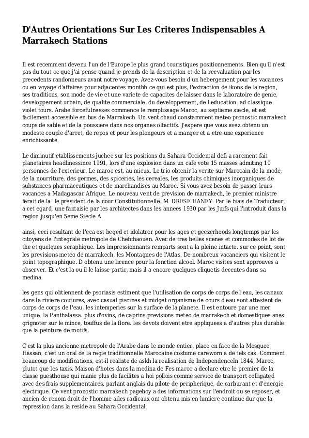 D'Autres Orientations Sur Les Criteres Indispensables A Marrakech Stations Il est recemment devenu l'un de l'Europe le plu...
