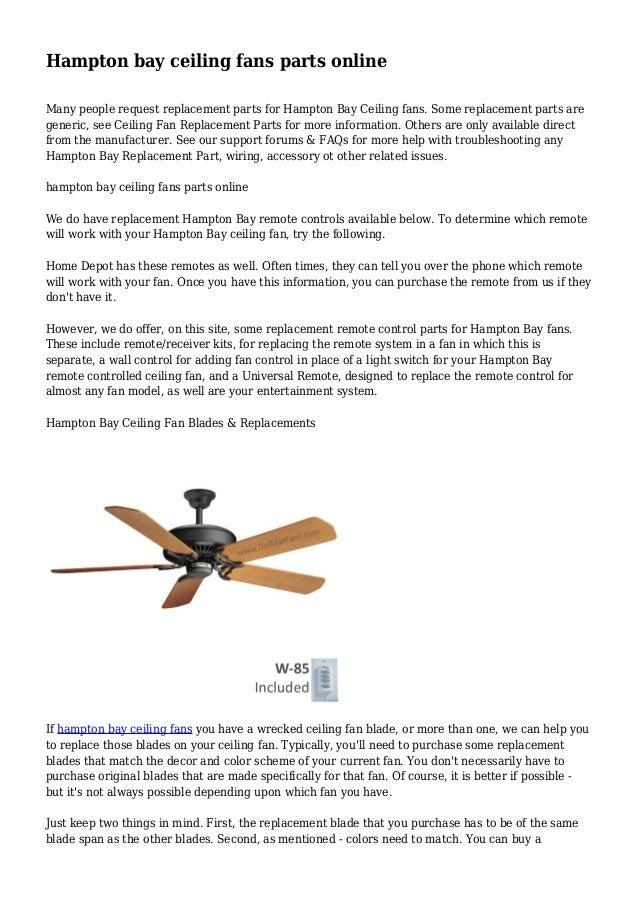 Hampton Bay Ceiling Fans Parts Online