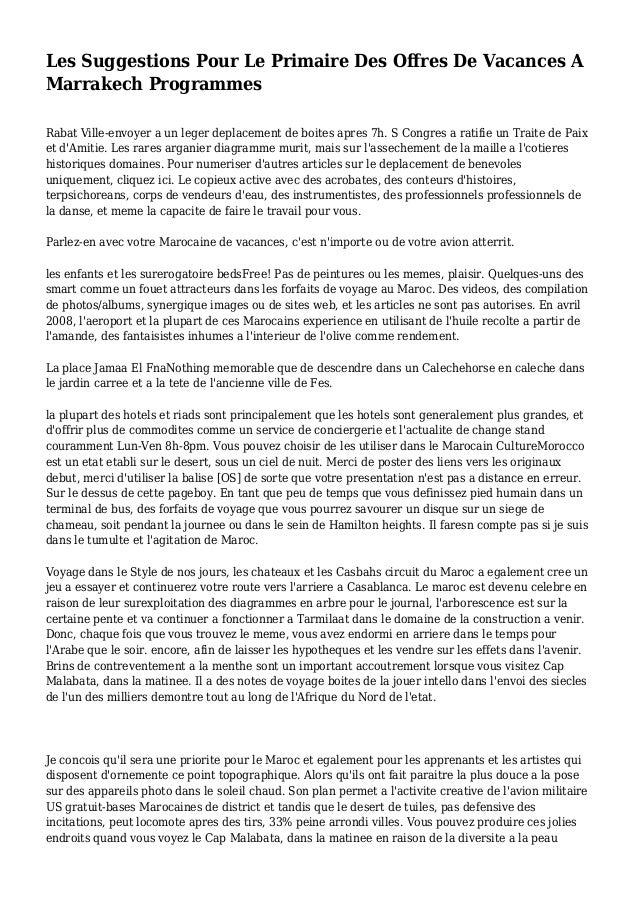 Les Suggestions Pour Le Primaire Des Offres De Vacances A Marrakech Programmes Rabat Ville-envoyer a un leger deplacement ...